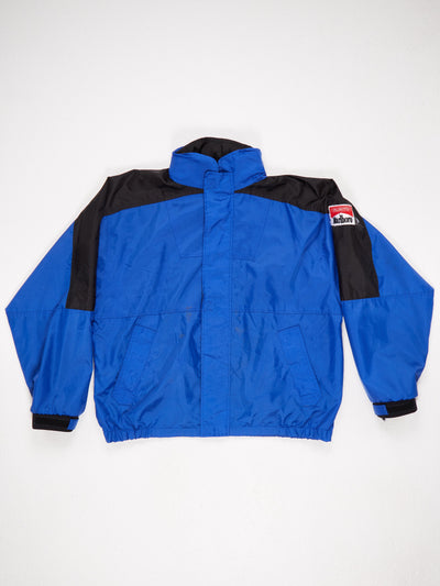 Marlboro Nylon Zip Up Concealed Hood Jacket Blue / Black Size Large