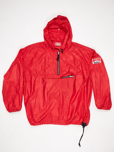 Marlboro Half Zip Nylon Pullover with Hood and Large Central Pocket Red / Black Size Large