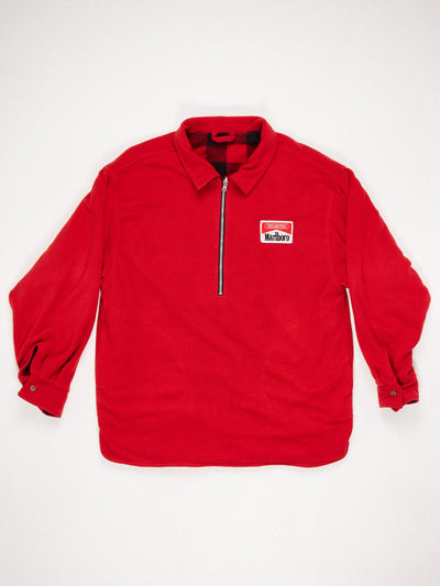 Marlboro Half Zip Fleece Reversable Pullover Red / Black Size XL