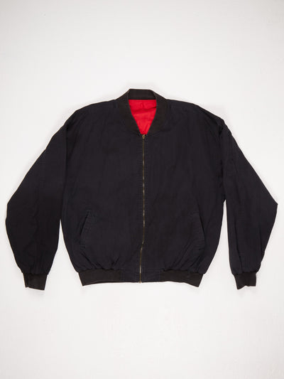 Marlboro Spell Out Zip Up Cotton Bomber Jacket Black / Red Size XL