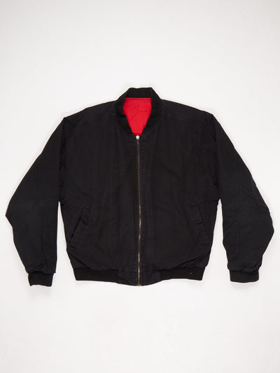 Marlboro Spell Out Zip Up Cotton Bomber Jacket Black / Red Size Medium