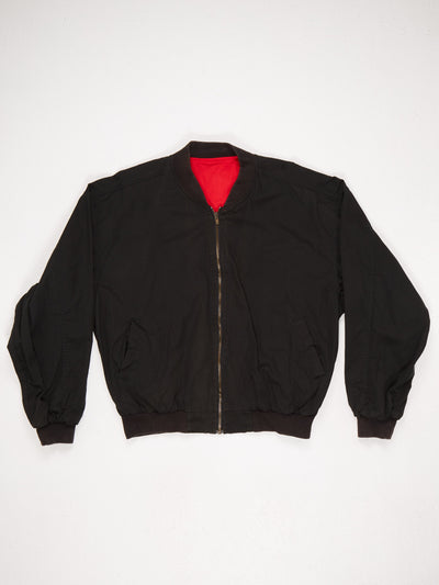 Marlboro Spell Out Zip Up Cotton Bomber Jacket Black / Red Size Small