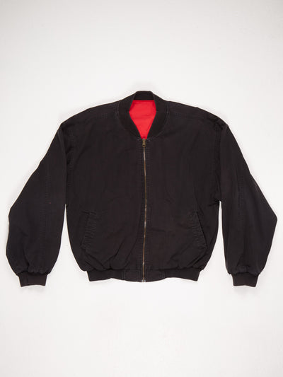 Marlboro Spell Out Zip Up Cotton Bomber Jacket Black / Red Size Large
