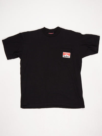 Marlboro Branded Pocket T-Shirt Black Size Large