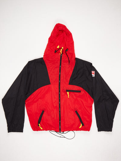 Marlboro Lightweight Nylon Zip Up Jacket with Drawstring Hem and Hood Red / Black Size Large