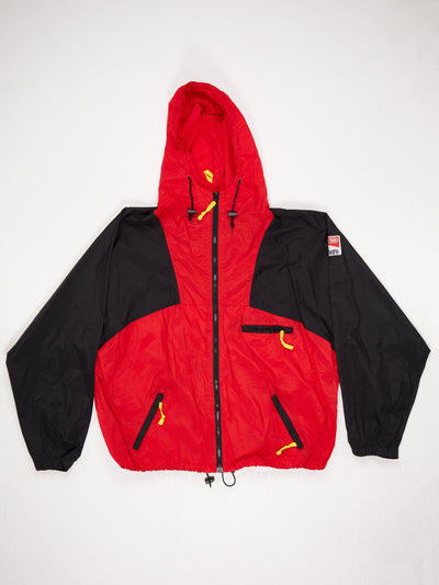 Marlboro Lightweight Nylon Zip Up Jacket with Drawstring Hem and Hood Red / Black Size XL