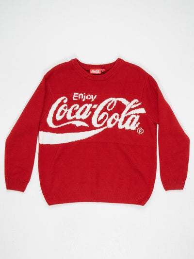 Coca-Cola Large Spell Out Knit Red / White Size Medium