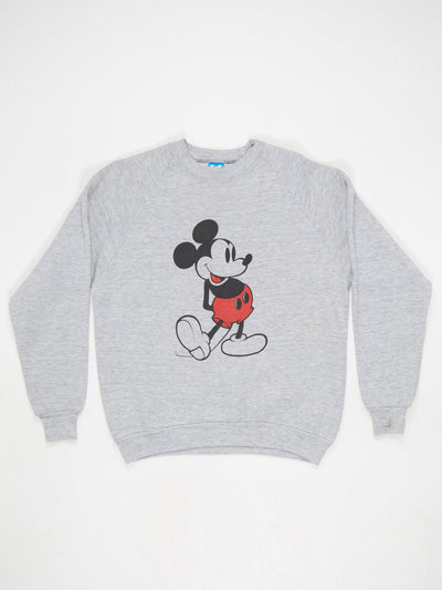 Mickey Mouse Character Print Sweatshirt Grey / Black / Red Size Large