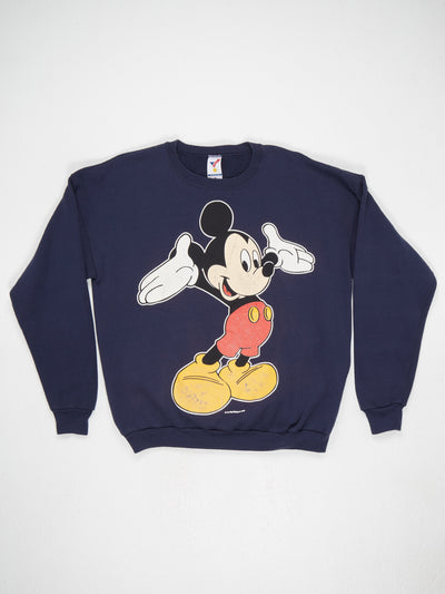Disney Mickey Mouse Character Print Sweatshirt Blue / Multi Size XL