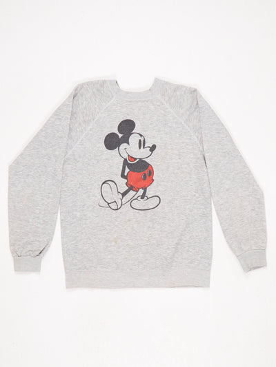 Disney Mickey Mouse Character Print Sweatshirt Grey / Black / Red Size Large