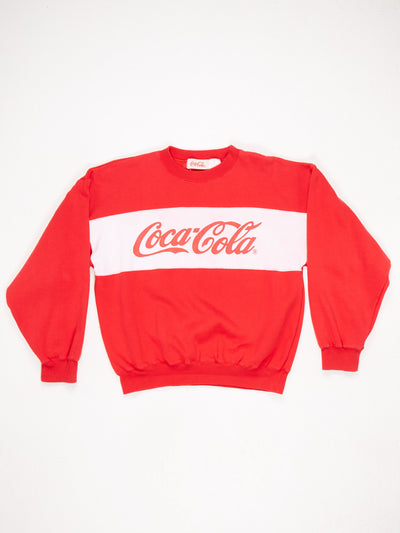 Coca-Cola Spell Out Printed Sweatshirt Red / White Size Large