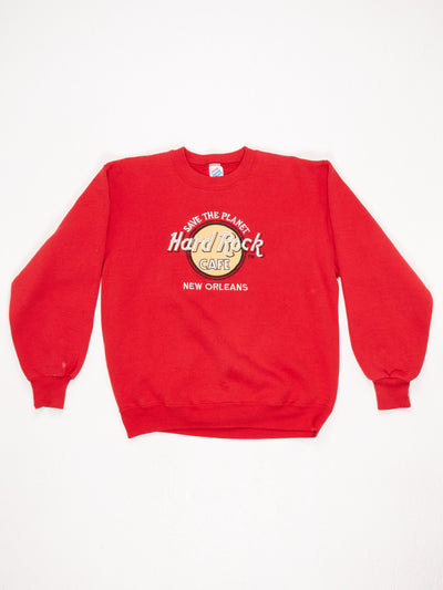 Hard Rock Cafe New Orleans Embroidered Sweatshirt Red Size Large