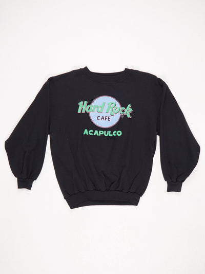 Hard Rock Cafe Acapulco Printed Sweatshirt Black / Green / Pink Size XL