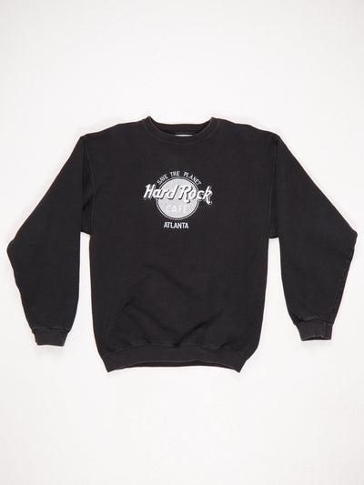 Hard Rock Cafe Atlanta 'Save The Planet' Embroidered Sweatshirt Black / Silver / White Size Medium