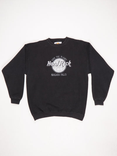 Hard Rock Cafe Niagra Falls 'Save The Planet' Embroidered Sweatshirt Black / Silver / White Size Large