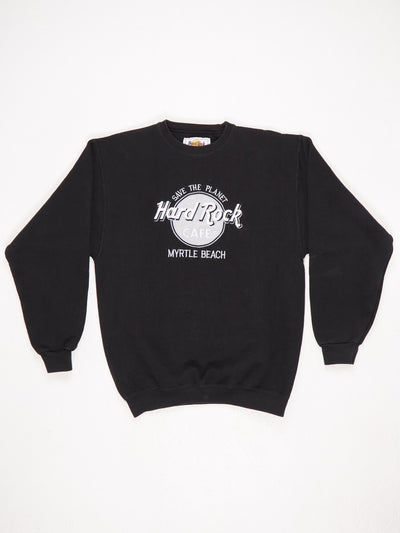 Hard Rock Cafe Myrtle Beach 'Save The Planet' Embroidered Sweatshirt Black / Silver / White Size Medium