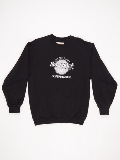 Hard Rock Cafe Copenhagen 'Save The Planet' Embroidered Sweatshirt Black / Silver / White Size Medium