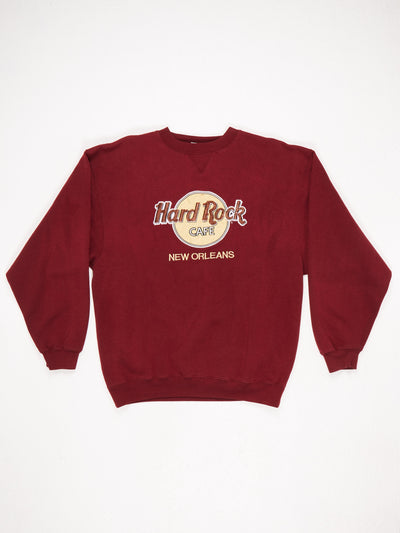 Hard Rock Cafe New Orleans Embroidered Sweatshirt Red / Yellow / Brown Size Large