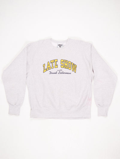 Late Show with David Letterman Spell Out Printed Sweatshirt Grey / Yellow / Blue Size XL