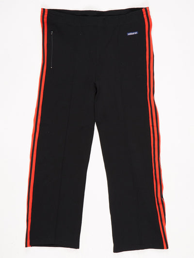 Adidas Nylon Sports Trousers Black / Red Size XL