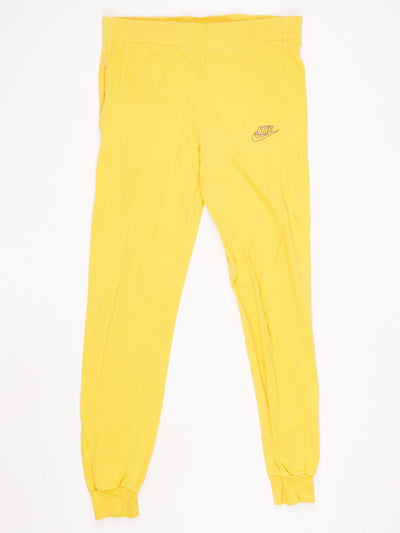 Nike Cotton Sports Trousers with Tapered Legs Yellow Size Small