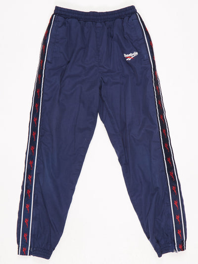 Reebok Track Pants with Elasicated Cuffs with Zips Blue / Red / White Size XS