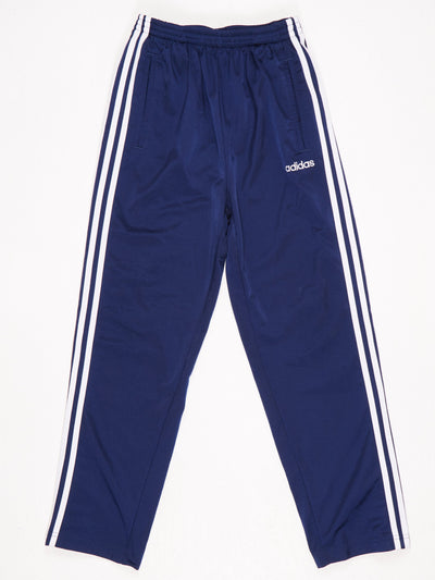 Adidas Poppered Leg Track Pants Blue / White Size Small
