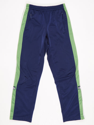 Adidas Poppered Leg Track Pants Blue / Green / White Size Large