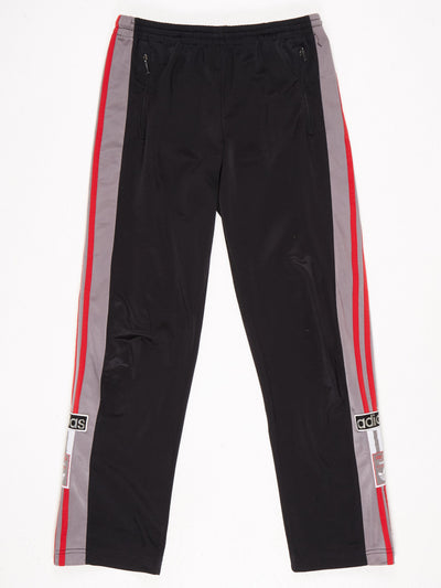 Adidas Popper Leg Track Pants Black / Red / Grey Size Large