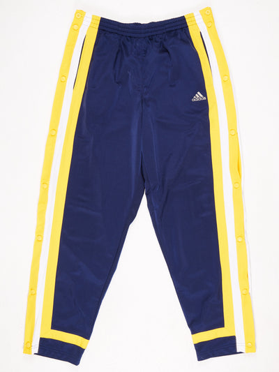 Adidas Popper Leg Track Pants Blue / Yellow / White  Size Large