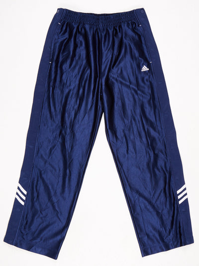 Adidas Popper Leg Track Pants Blue / White  Size Medium