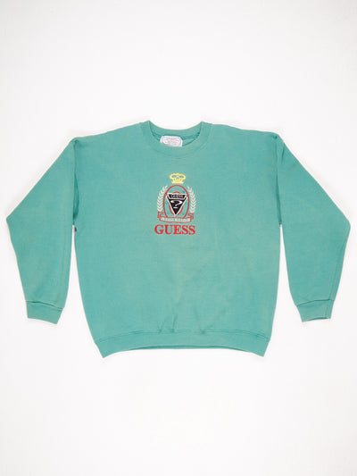 Guess Large Embroidered Logo Sweatshrit Green / Multi Size XL