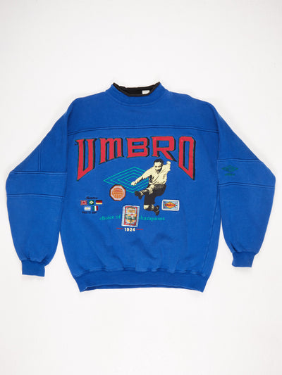 Umbro Large Spell Out Sweatshirt with Multiple Patches, Hugh Neck and Football Theme  Blue / Multi Size Large