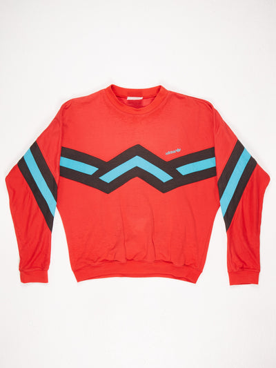 Adidas Zig Zag Patched Small Logo Sweatshirt Red / Gren / Black Size Large