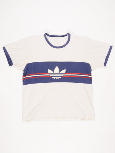 Adidas Central Stripe and Logo Printed T-Shirt Blue / Cream / Red Size Medium