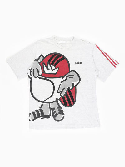 Adidas Graphic Print T-Shirt with Small Embroidered Logo  Grey / Red / Black Size XL