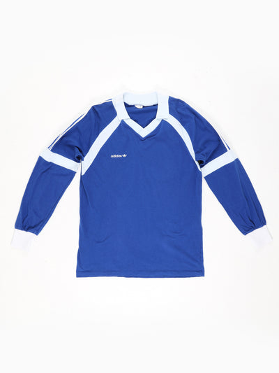 Adidas Small Logo Printed, Cotton Collared Long Sleeve Football Shirt Blue / White Size Large