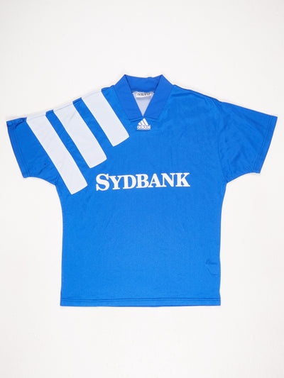 Adidas Equipment V-Neck Sports Top with 'SYDBANK' Sponsor Central Print  Blue / White Size Medium
