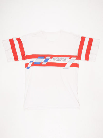 Adidas Graphic Print T-Shirt With Striped Sleeves White / Red / Blue Size Large