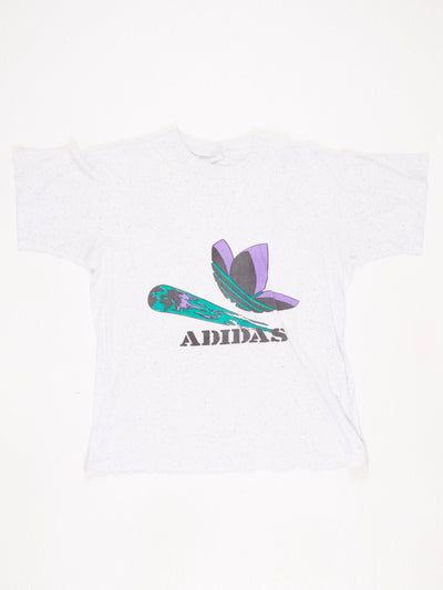 Adidas Speckled Printed T-Shirt White  / Black / Purple / Green Size Medium