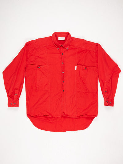 Adidas Long Sleeved Cotton Button Up Shirt,  Red Size XL