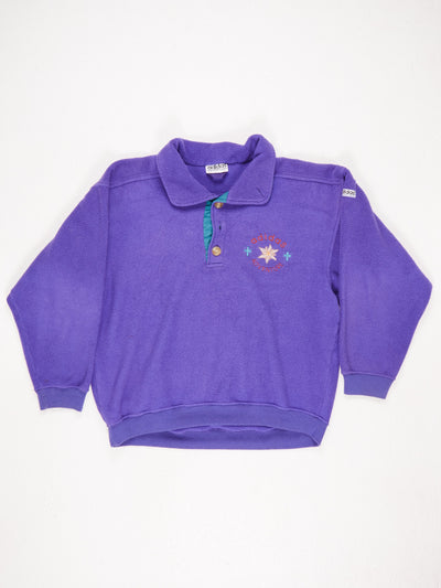 Adidas Adventure Embroidered Logo Collared Fleece with 3 Button Fastening  Large Embroidered Logo on The Reverse Purple / Multi Size Large