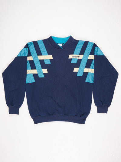 Adidas Sweatshirt with Ribbon Patch Shoulders and Small Logo Blue / Yellow / Green Size Large