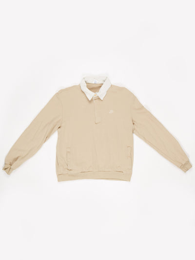 Nike Small Logo Button Up Collared Sweatshirt Cream / Brown Size