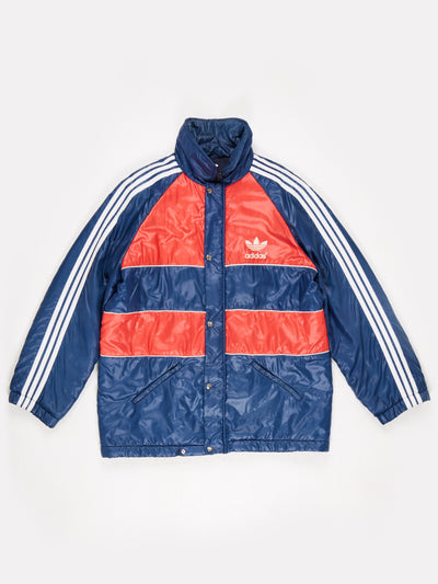 Adidas Lightweight Padded Jacket Zip Up with Poppered Overlay Blue / Red / White Size XL