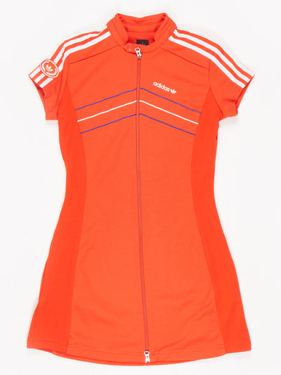 Adidas Zip Up Dress with Piping Red / White / Blue Size Small