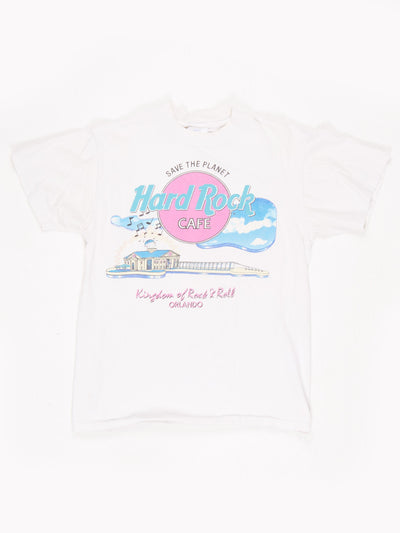 Hard Rock Cafe Orlando 'Save The Planet' Printed T-Shirt White / Multi Size Medium
