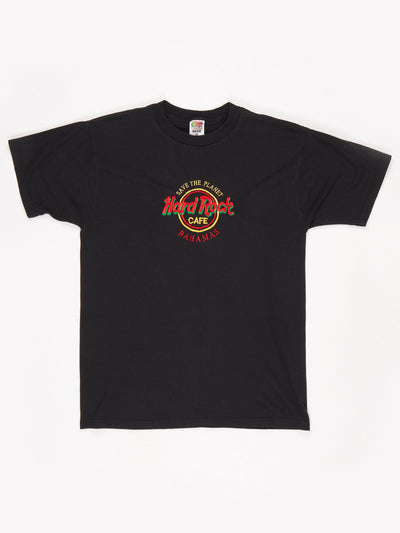 Hard Rock Cafe Bahamas Embroidered Logo T-Shirt Black / Red / Green / Yellow Size Large