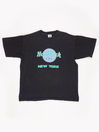 Hard Rock Cafe New York Printed T-Shirt Black / Green / Pink Size XL