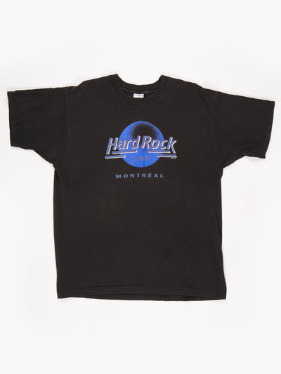 Hard Rock Cafe Montreal Printed T-Shirt/ Black / Blue / White Size XL